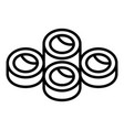 online sushi roll icon outline style vector image