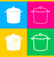 pan sign four styles of icon on four color vector image vector image