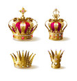 royal family golden crowns realistic set vector image vector image