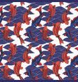 seamless pattern with koi carps and waves hand vector image vector image