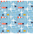seamless pattern with passenger airplanes 04 vector image vector image