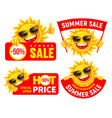 set cheerful cartoon sun characters which vector image vector image