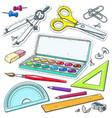 set for study paint vector image
