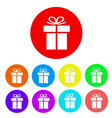 set of gift flat icon button stock vector image vector image