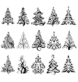 Set of Luxury Christmas Trees vector image vector image