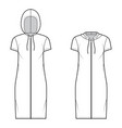 set zip-up hoody dresses technical fashion vector image vector image