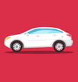 side view white car icon on red background flat vector image