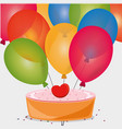 sweet cake birthday heart balloons vector image