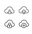 thin line cloud icons vector image vector image