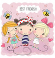 three cute cartoon girls vector image vector image
