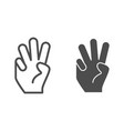 three fingers up line and glyph icon number three vector image vector image