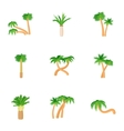 Types of palm icons set cartoon style vector image vector image