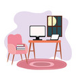 workspace room home desk computer laptop chair vector image vector image
