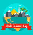 world tourism day holiday background flat style vector image