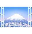 Cherry Blossoms around Mount Fuji vector image