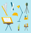 a set of working tools for the architect to work vector image