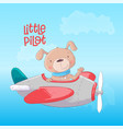 airplane with a cute dog vector image vector image