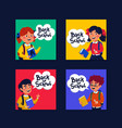 back to school mini cards collection cards with vector image vector image