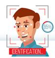 biometric facial identification mobile app vector image