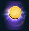 bitcoin gold coin symbol digital vector image