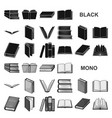 book in the binding black icons in set collection vector image vector image