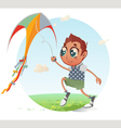 Boy flies his Kite vector image