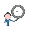 businessman character holding clock color and vector image vector image