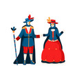 cartoon colorful couple wearing festive costumes vector image