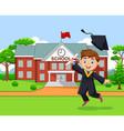 cartoon graduation boy in front school building vector image vector image