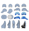 Colored outlined sneakers baseball cap set i vector image