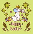 coronavirus easter bunny near eggs and viruses vector image vector image