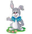 cute bunny with big ribbon vector image