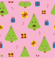 cute christmas trees with faces smiling vector image vector image