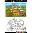 cute dogs cartoon coloring book vector image vector image