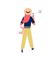 cute funny girl in hat sending messages via vector image vector image