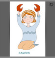 cute girl in the form of zodiac sign cancer vector image