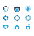 dental logo tooth in heart home and apple icon vector image vector image