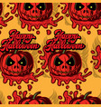 festive background with a scary pumpkin vector image vector image