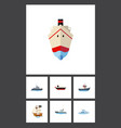 flat icon ship set of delivery ship sailboat and vector image vector image