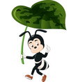 funny black ant with green leaf cartoon vector image vector image