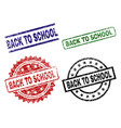 grunge textured back to school seal stamps vector image