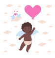 happy african cupid holding balloon vector image vector image