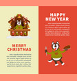 happy new year and merry christmas posters with vector image