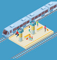 isometric 3d city railway station location vector image