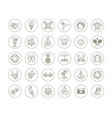 line drawing icons - summer vacation and holidays vector image vector image