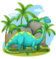 Long neck dinosaur standing in the field vector image vector image