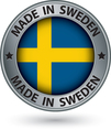 Made in Sweden silver label with flag vector image