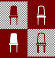 office chair sign bordo and white icons vector image vector image