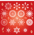 red snowflakes set vector image