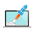 Rocket and laptop vector image vector image